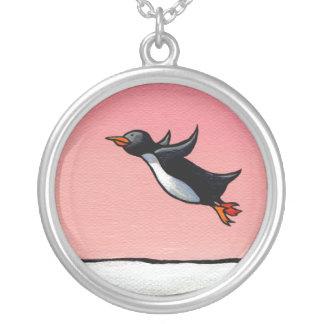 Penguin flying fun whimsical art Eternal Optimist Custom Jewelry