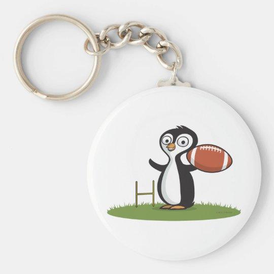 Penguin Football Basic Round Button Key Ring