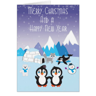 Penguin Friends Arctic Christmas Card