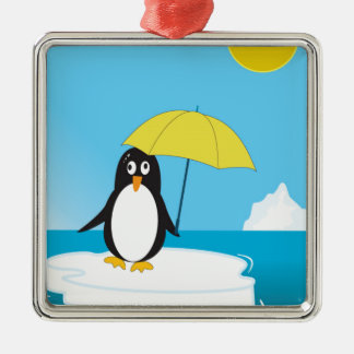 Penguin - Global Warming Silver-Colored Square Decoration