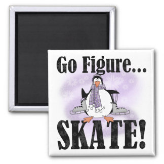 Penguin Go Figure Skate T-shirts and Gifts Square Magnet