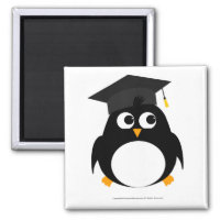 Penguin Graduation Design - Square Magnet