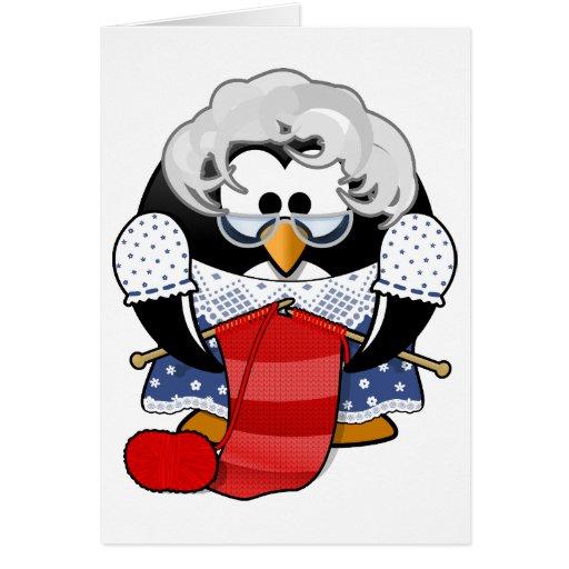 Penguin grandma knitting animation illustration cards