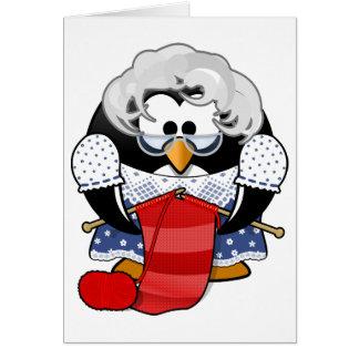 Penguin grandma knitting animation illustration greeting card