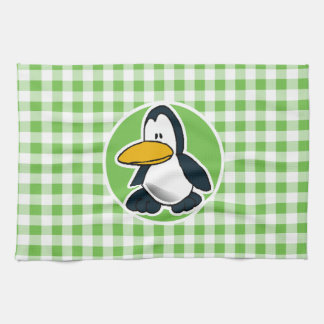 Penguin; Green Gingham Tea Towel