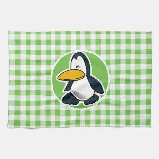 Penguin; Green Gingham Towel