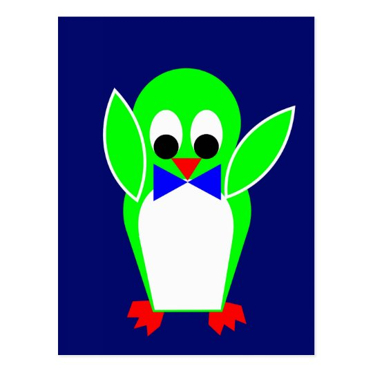 Penguin - Green Postcard