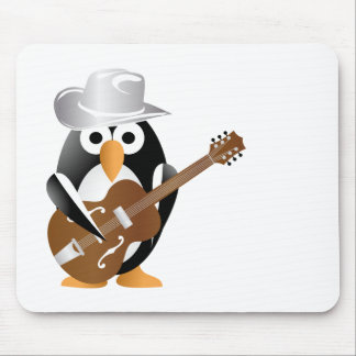 Penguin guitarist mouse mat