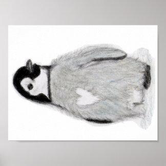 Penguin Heart Art Poster birthday christmas