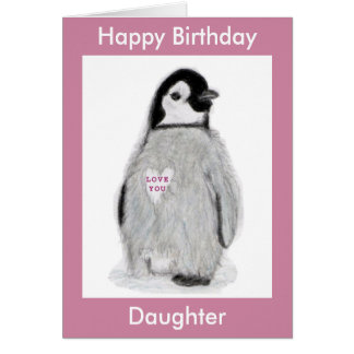 Penguin Heart birthday card daughter mum etc.