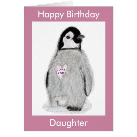 Penguin Heart birthday card daughter mum etc.