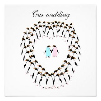 Penguin heart wedding invitation