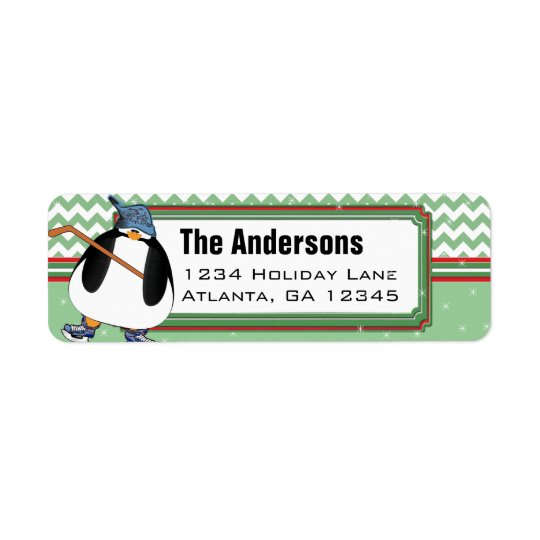 Penguin Hockey Stick Christmas Return Address