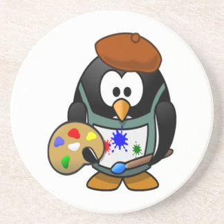 Penguin Holding an Art Palette Coaster