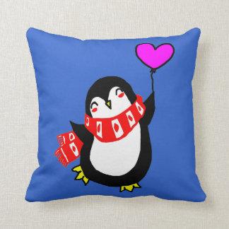 Penguin Holding Heart Shaped Balloon Pillow