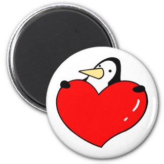 Penguin holding red heart cute design 6 cm round magnet