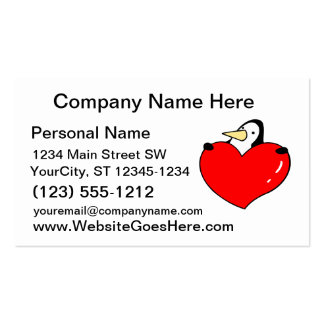 Penguin holding red heart cute design pack of standard business cards