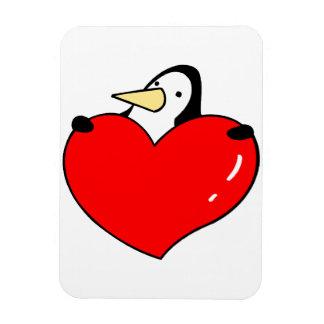 Penguin holding red heart cute design rectangular photo magnet