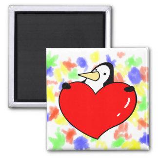 Penguin holding red heart cute design square magnet