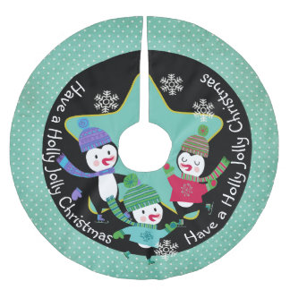 Penguin Holly Jolly Christmas 4 Holiday Tree Skirt Brushed Polyester Tree Skirt