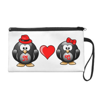 Penguin I Found My Mate for Life Pair Red Heart Wristlet Purses