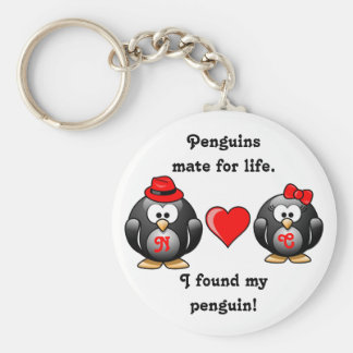 Penguin I Found My Mate for Life Pair Red Heart Basic Round Button Key Ring