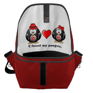 Penguin I Found My Mate for Life Pair Red Heart Messenger Bags