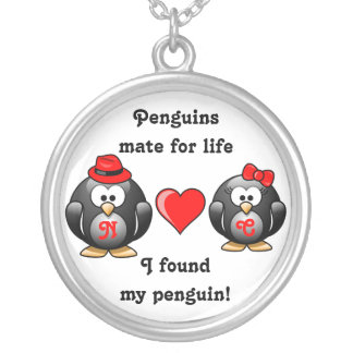 Penguin I Found My Mate for Life Pair Red Heart Silver Plated Necklace