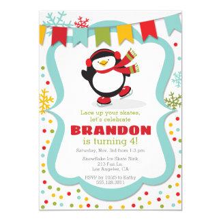 Penguin Ice Skate Winter Birthday Party Invitation