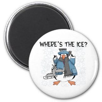 Penguin Ice Skating 6 Cm Round Magnet
