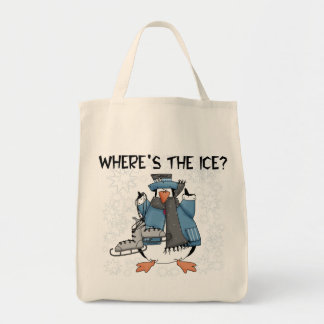 Penguin Ice Skating Tshirts and Gifts Grocery Tote Bag