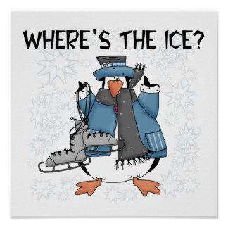 Penguin Ice Skating Tshirts and Gifts Poster