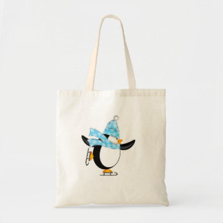 Penguin Ice Skating with Hat and Scarf Bag