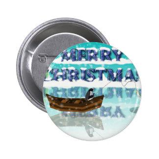 penguin in a boat.jpg 6 cm round badge