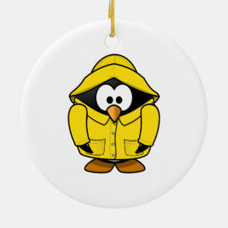 Penguin in a Raincoat Cute Cartoon Christmas Ornament