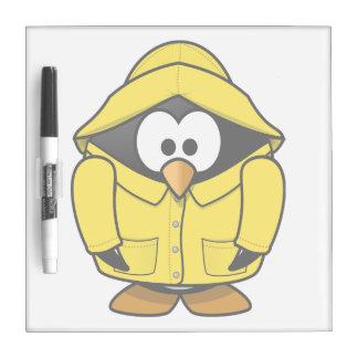 Penguin in a Raincoat Cute Cartoon Dry-Erase Boards