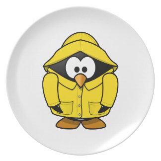 Penguin in a Raincoat Cute Cartoon Dinner Plate
