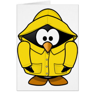 Penguin In A Raincoat Greeting Cards