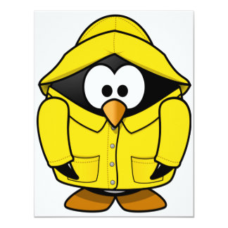 Penguin In A Raincoat Invitations
