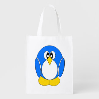 Penguin in Blue Reusable Grocery Bag