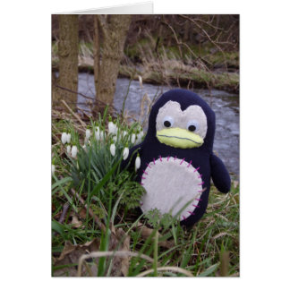 Penguin in Flowers Card