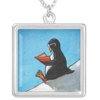 Penguin in glasses reading a book fun art custom jewelry