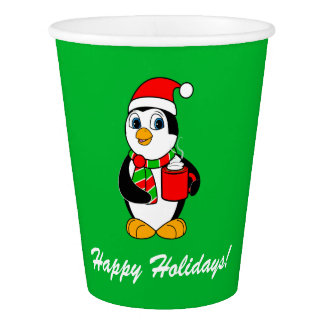 Penguin in Santa Hat Drinking Cocoa Holiday Party Paper Cup