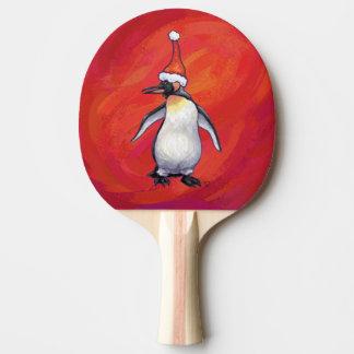 Penguin in Santa Hat on Red