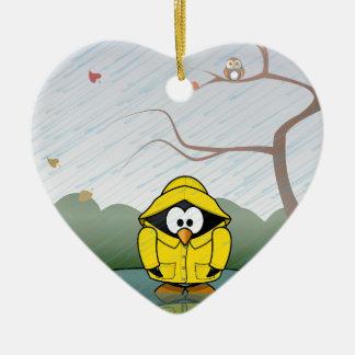 Penguin in the rain christmas ornament