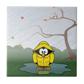 Penguin in the rain small square tile