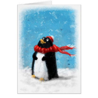 Penguin in the snow card