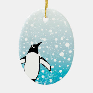 Penguin In The Snow Ceramic Oval Decoration