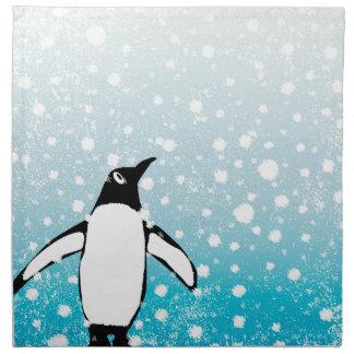 Penguin In The Snow Napkin