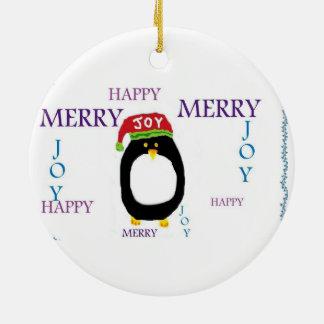 PENGUIN JOY HAPPY MERRY CHRISTMAS Ornament Round Ceramic Ornament